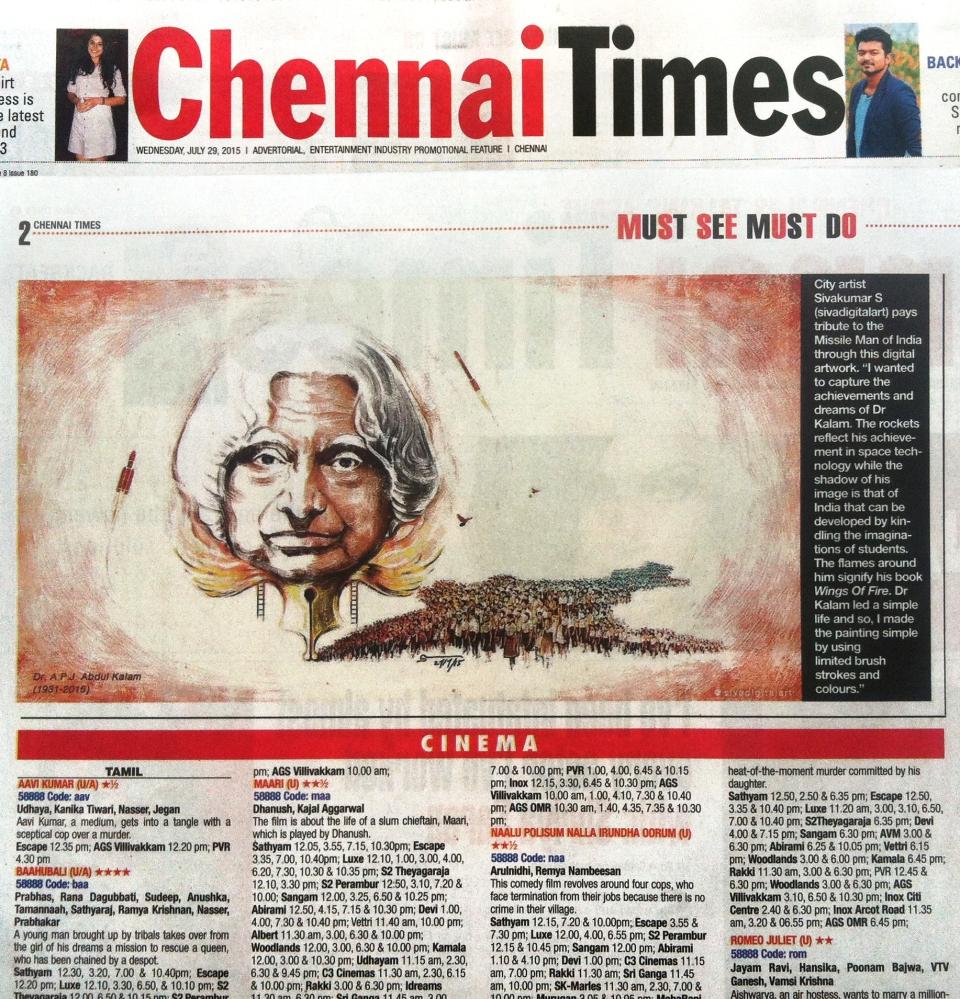 Art Tribute to APJ Abdul Kalam_Sivadigitalart_Chennai Times